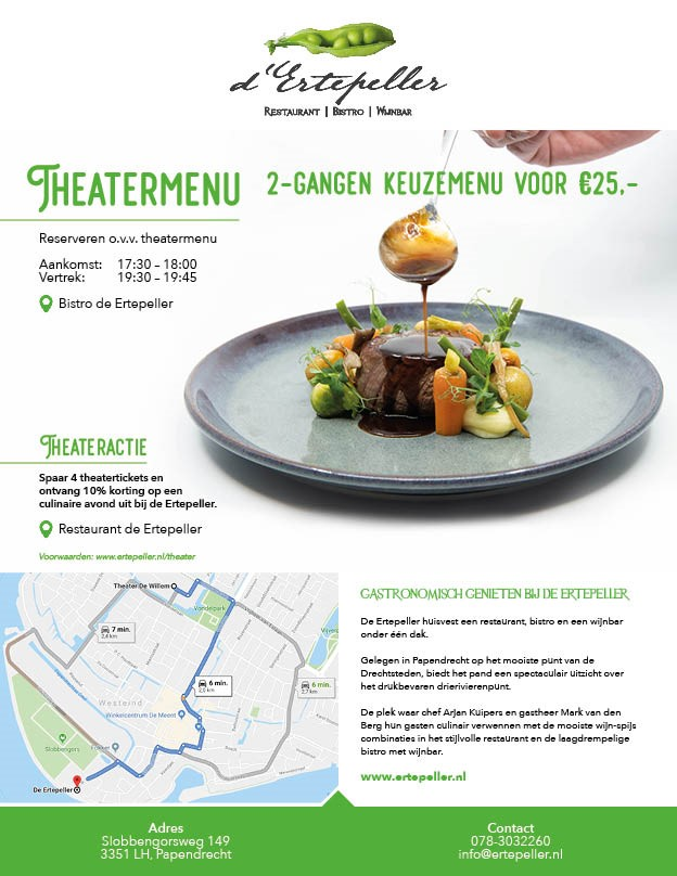 theatermenu, willem de zwijger theater, ertepeller, papendrecht, uit eten